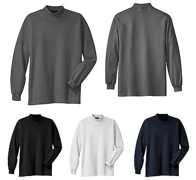 Men's Super Soft, Mid-Weight 100% Cotton, Long Sleeve, Mock Turtleneck, Xs-6Xl