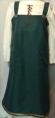 Teal Blue Celtic Norse Viking Overdress Dress Pinafore 12-14 36-38 Chest LARP