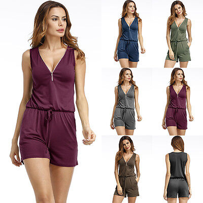 Women's Summer Shorts V Neck Jumpsuits Beach Party Clubwear Romper Playsuit