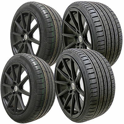 "4 19"" Full Black Alloy Wheels Tyres 5x112 Audi Mercedes Staggered 8.5"" 9.5"" Rear"