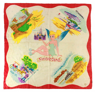 Very Rare 1959 Disneyland TIKNERBELL & THE FIVE LANDS SILK SCARF