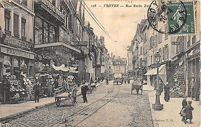 Cpa 10 Troyes Rue Emile Zola