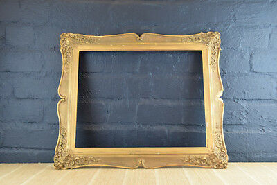 Stunning Antique Wood & Gold Gesso Swept Picture Portrait Frame