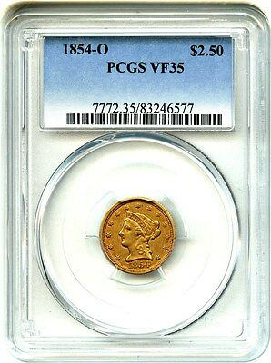 1854-O $2 1/2 PCGS VF35 - Desirable O-Mint - 2.50 Liberty Gold Coin