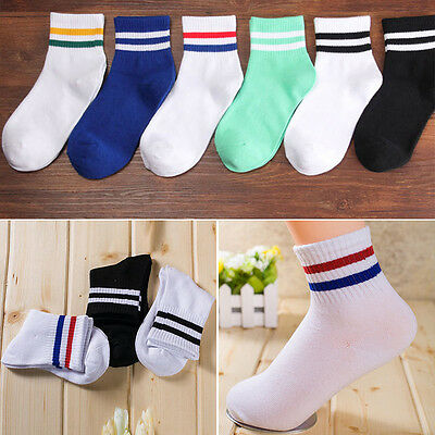 Women Students Stripe Cotton Sports Socks Casual Breathable Middle Tube Socks