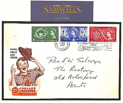 MS2896 1957 GB SCOUTING FDC *Sutton Coldfield* Jamboree Slogan First Day Cover
