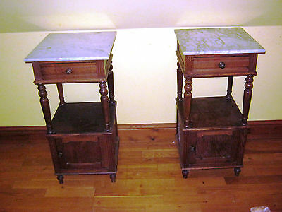 Pair Of Antique French Oak Bedside Tables - C1910