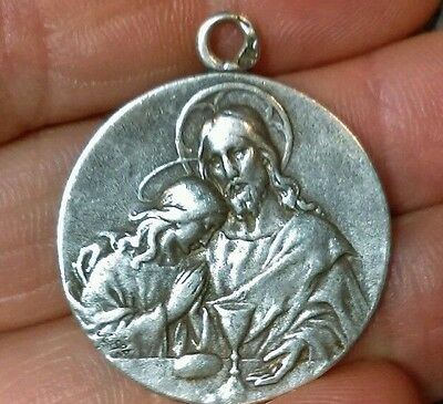 Antique Sterling Silver Engraved Victorian Mary Jesus Communion Medal