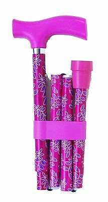 Switch Sticks Essentials Adjustable Folding Walking Stick - Pink/Purple Leaf