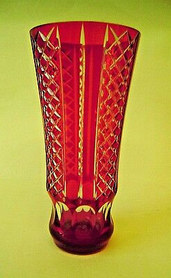 Cut Red Vase Ruby Clear Vintage Glass Antique Cranberry Tall Bohemian Crystal 8