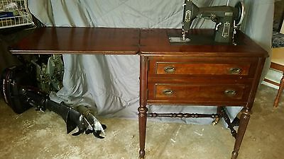 Antique Vintage 1938 SEARS KENMORE Rotary Sewing Machine with Wood Cabinet Table