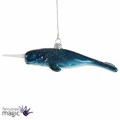 Sass & Belle Glitter Narwhal Whale Animal Hanging Christmas Xmas Tree Decoration