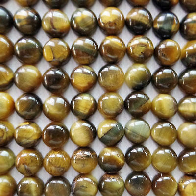 5 PIECES OF 5mm ROUND CABOCHON-CUT NATURAL AFRICAN GOLDEN TIGERS-EYE GEMSTONES