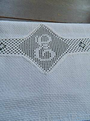 "Vintage Irish linen damask towel - crochet lace insert with monogram ""E"""