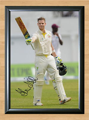 Steve Smith Cricket Signed Autographed A4 Poster Photo Print Memorabilia bat 2