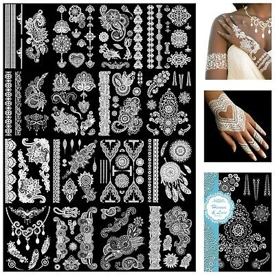 10 Designs White Henna & Lace Temporary Tattoos Body Art Tattoo Skin Transfers