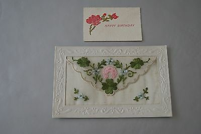 WW1 Old Silk Embroidered Postcard Floral with inset card