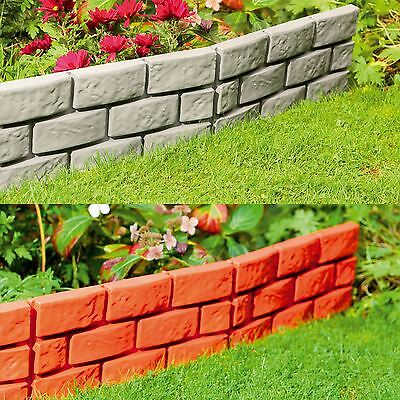 Garden Patio Edging Brick Effect Plastic Hammer-In Lawn Border Grey/Terracotta