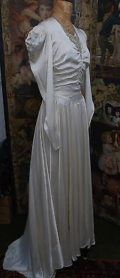 Stunning Figure Hugging Art Deco Antique Silk Fabric Wedding Gown Approx Size 10