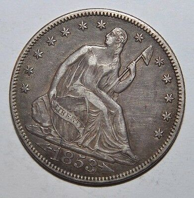 1853 Seated Liberty Half Dollar with Arrows & Rays