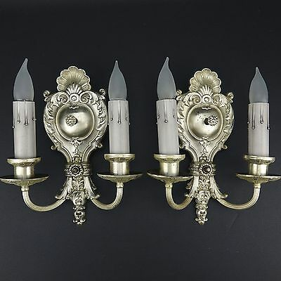 Pair Rare Antique 1920-30's Silvered Two Candle Sconces by MUTUAL METAL Chicago