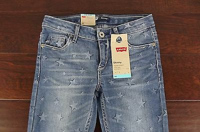 NEW Levi's Girl's Size 8 Skinny Stretch Adjustable Jeans Reg Stars Star Denim