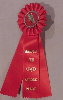 Vintage Horse Show Red Ribbon Horse Badge -- Bittersweet Farm 2nd Place
