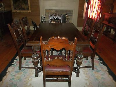 9 Piece Original Dark Oak Elizabethan - Jacobean Dining Room Set Suite Suit