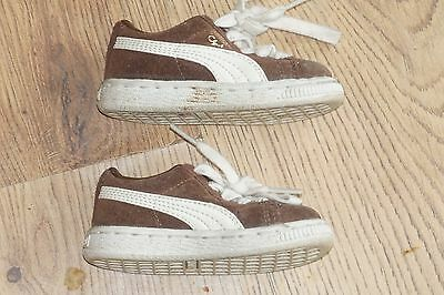 baby boys puma clyde brown trainers size 4T toddler