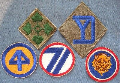 Lot of 5 original WWII period US Army shoulder patches (3)