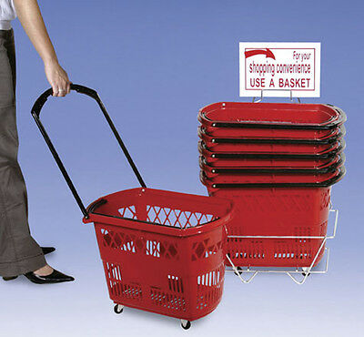 Grocery Shopping Easy Pull Rolling Basket Display Store Fixture Red Lot of 6 NEW