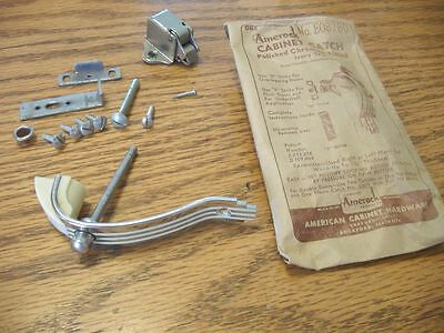 Vintage NOS CHROME w IVORY Lines Cabinet Pull Push Button Catch Handle AMEROCK