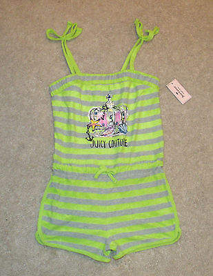 Girls Juicy Couture Jumper/Romper/Shorts-Terry-Lime/Gray Striped-10/12-14-New!