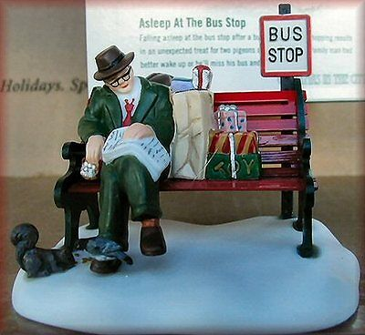"""Dept 56 Christmas In The City """" Asleep At The Bus Stop """" # 58993 Brand New"""
