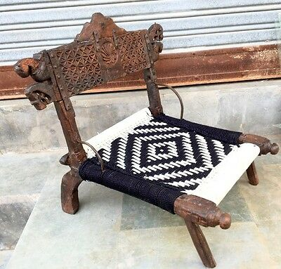 1800's Ancient Wooden Carved  Waving Indian Rajasthani Pida Lower Coffee Chair