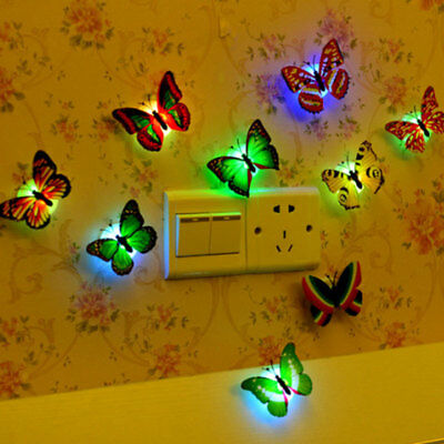 7 Color Changing LED Light Lamp Butterfly Night Fairy Kids Room Party Wall Decor