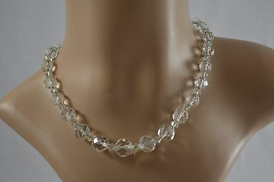 VINTAGE 1930s Austrian clear faceted glass bead necklace ART DECO