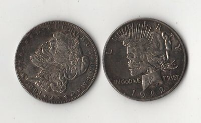 1893/1922 Morgan/Peace Dollar Two Heads Hobo Nickel Two Face Zombie Skull Coin