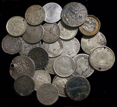(24) Damaged World Silver Coins