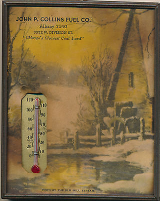 Vintage Albany, OR Advertising Framed Thermometer & Scene Collins Fuel Co.