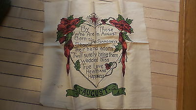 """Antique EMBROIDERED PILLOW TOP Cover to Finish """"AUGUST"""" Poem, Birthday,Heart"""