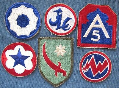 Lot of 6 original WWII+ US Army shoulder patches (2)