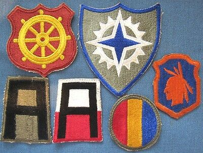 Lot of 6 original WWII US Army shoulder patches (3)