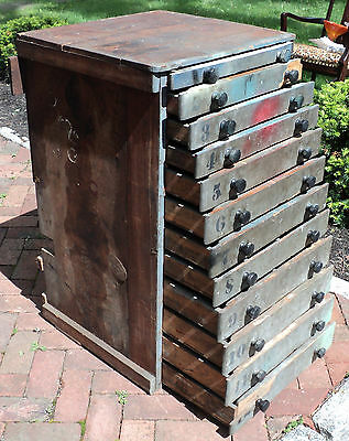 Antique Industrial Painted Multi Drawer Cabinet