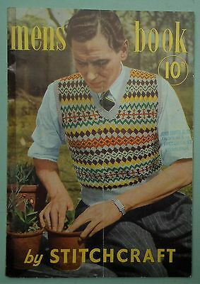 MENS BOOK by STITCHCRAFT vintage 1940s ORIGINAL knitting patterns Fair Isle WWII