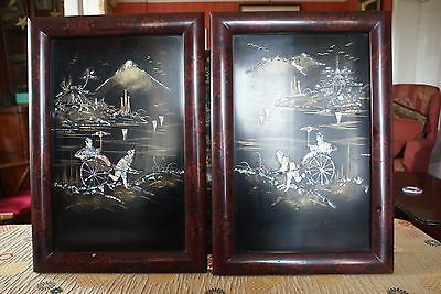 Pair of japanese meiji period shibayama panels,mother of pearl inlay
