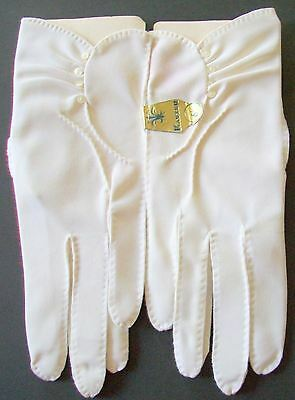 NOS Vintage Womans SZ 6.5 Kayser Dress Short Wrist Gloves White Buttons 50s