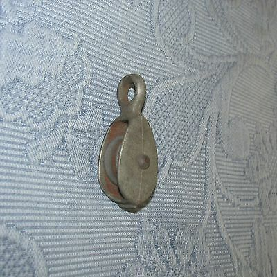 Vintage Galvanized Nautical Ship's Pulley with Top Ring, 1 Inch