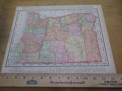 1898 Colored State Map of Oregon with Washington on Reverse