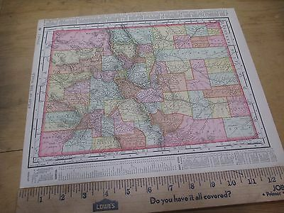 1898 Colored State Map of Colorado with New Mexico on Reverse